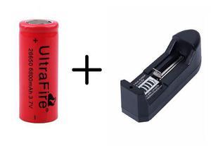 Bateria Pila 26650 De 6800 Mah + Cargador Sencillo