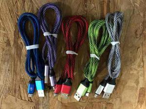 Cable V8 Micro Usb Tela Carga Rapida De Colores Rayo
