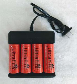 Cargador Cuadruple + 4 Baterias Pilas Mod 26650 De 6800 Mah