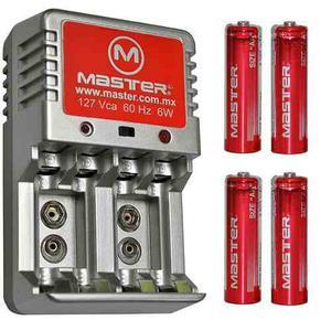 Cargador De Baterias Master 3000mah Incluye 4 Baterias