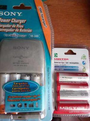 Cargador De Baterias Sony Con 8 Pilas, 6 Aa Y 2 Aaa