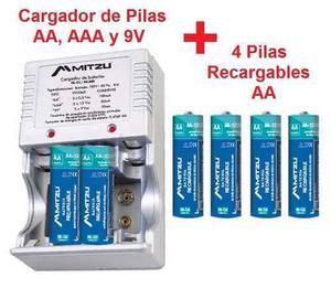 Cargador De Pilas Baterias Aa Aaa 9v Con 4 Pilas Aa Recargab