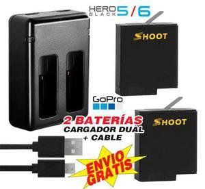 Gopro 2 Pilas+ Cargador Baterias, Go Pro Hero Black 5, 6, 7