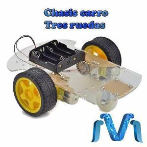 Kit Chasis De Carro Tres Ruedas Rueda Loca Robot Arduino