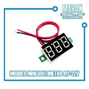Mini Voltímetro Display Rojo 3 Dígitos 4.5v 32v Dc Arduino