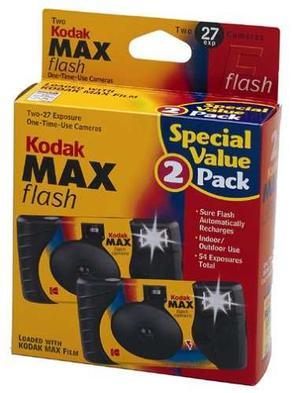 2 Cámaras Kodak Max De 35 Mm De Un Solo Uso Con Flash