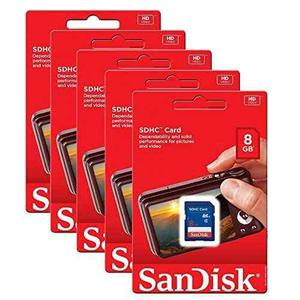 5 Pack Sandisk 8 Gb 8 Gb Sd Sdhc Clase 4 Tarjeta De Memoria