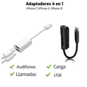 Adaptador 4 En 1 Iphone 7 8 X Audifonos Cargador Llamadas