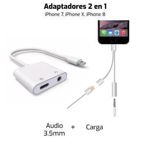 Adaptador Audifonos + Cargador 2 En 1 Iphone 7, 8, X, 7+ 8+