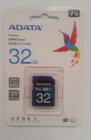 Adata Memoria Sd 32gb Uhs-i Clase 10 Camaras 50mb/s