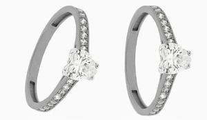 Anillo Compromiso Oro 14 K Diamante Cultivado Corazon 0.61ct