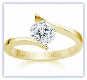 Anillo Compromiso Oro 18kt Diamante Ruso Envío Gratis