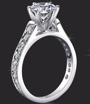 Anillo Compromiso Oro Blanco 14k 1.85 Diamantes Simulados Cz