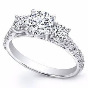 Anillo Compromiso Oro Blanco 14k Diamante Ruso