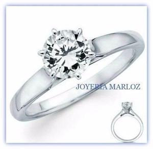 Anillo Compromiso Oro Blanco 14kt Diamante Ruso 6u-14-cz