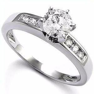 Anillo Compromiso Oro Blanco 18kt.30ct De Diamante Central