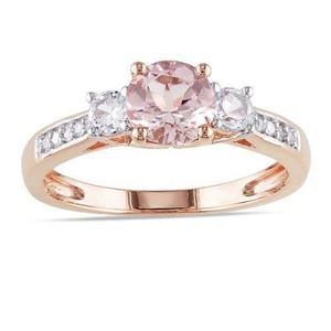 Anillo Compromiso Oro Rosa 10k Y Diamante Sintético