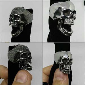 Anillo Cráneo Calavera Acero Inoxidable Mandíbula Movible