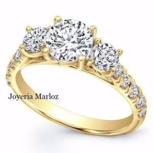 Anillo De Compromiso Oro Amarillo 10kt Diamante Ruso River