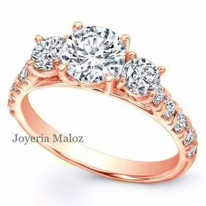 Anillo De Compromiso Oro Rosa 10kt Diamante Ruso River