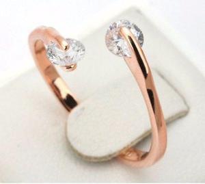 Anillo De Compromiso Oro Rosa Doble Cristal Swarovski