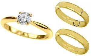 Anillo De Compromiso Y Argollas Matrimoniales 10kt 3 Piezas