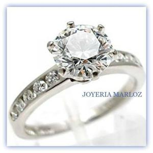 Anillo Oro Blanco 10kt Diamante Ruso Envío Gratis 007