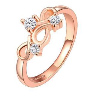 Anillo Oro Rosa Infinity Con Cristal Austriaco Envio Gratis