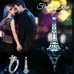 Anillo Torre Eiffel Paris Chapa Oro Blanco Plateado Zirconia