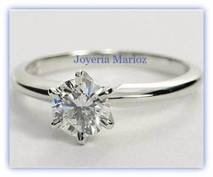 Anillos Comprmiso Oro Blanco 10kt Diamante Ruso Envio Gratis