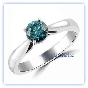 Anillos Compromiso Diamante Natural De Mina Color Azul.25ct