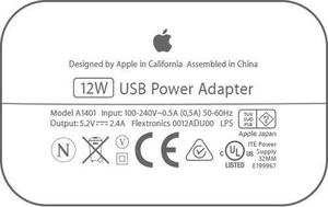 Cargador Y Cable Lightning Original Apple 12w A1401 Ipad