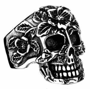 Cráneo Calavera Flores Rock Anillo Acero Inoxidable Unisex