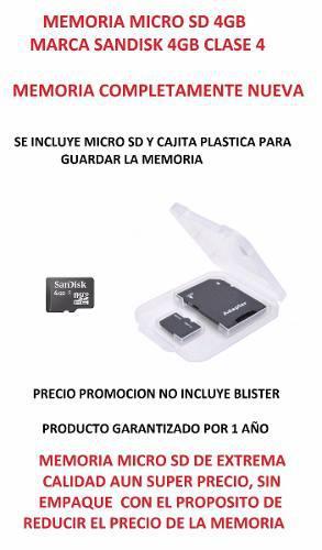 Micro Sd Sandisk 4gb Cl4 Nueva Precio X 10 Pieza Con Envio