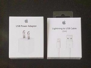 Set Cargador Y Cable Lightning 2m Apple Iphone 5 6 7 8 X
