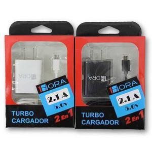 Turbo Cargador Cable Cubo 2 En 1 Carga Rapida 2.1a 1 Hora