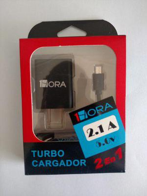 Turbo Cargador Usb Con Cable Micro Usb V8 5v 2.1a Hora