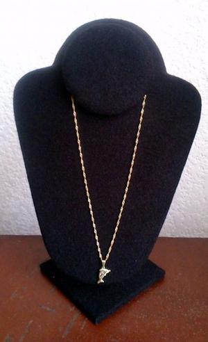 Cadena Y Delfin Chapa Oro 18 Kt Con Cuarzo Blanco 44 cms Nva
