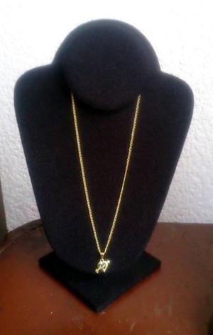 Cadena con Corazon Flechado Chapa Oro 18 Kt 44 cms Nueva