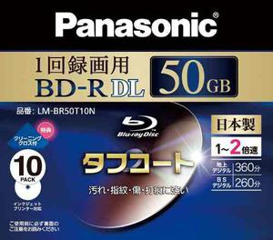 Panasonic Blu Ray Disc 10 Pack Bd R Dl 50gb 2x Chorro D...