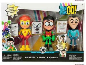 Teen Titans Go Set Dc Jovenes Titanes 3 Figuras Muda De Cara