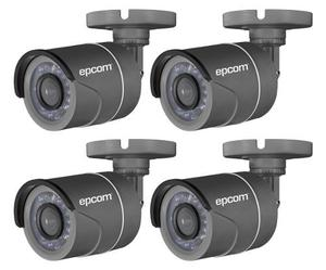 4 Camara Bullet Epcom 720p Turbohd Visión Nocturna Exterior