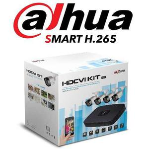 Kit Dahua Cctv 4ch Xvrcnxkit 720p 4 Camaras Metal H.265