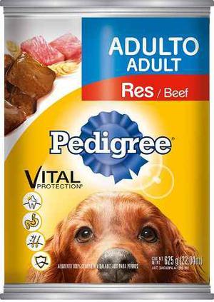 Alimento Pedigree Adulto Trozos De Res Lata 625 Gr