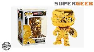 Funko Pop Marvel Capitan America Cromado Gold Dorado (1)