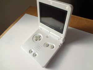 Gameboy Advance Sp Doble Luz Blanco Perla Con Mica Cristal