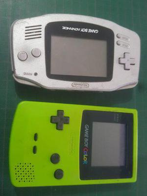 Gameboy Color Verde Y Advance Plata + Donkey Kong 2