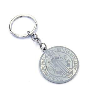 Llavero Acero Plateado Medalla San Benito Grande Eg