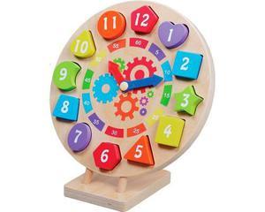 Reloj Madera Enseña Colores Figuras Geométricas Números Y
