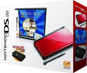 Nintendo Ds Lite Crimson Black Con Brain Age 2...